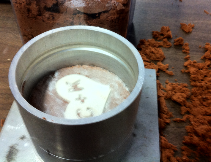 The mold being created